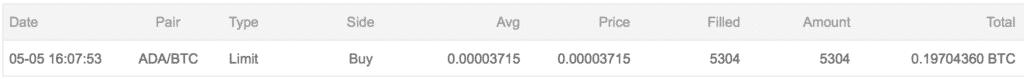 仮想通貨投資日記11 BTC20万円分をエイダコインに交換(2018年5月6日)2